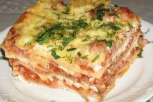 блюдо мясная лазанья