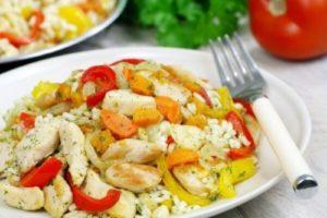 куриные грудки с рисом и овощами