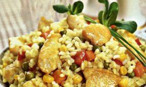 с овощами и рисом куриные грудки