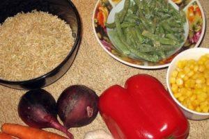 с овощами рис бурый
